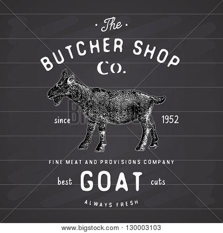 Butcher Shop Vintage Emblem Goat Meat Products, Butchery Logo Template Retro Style. Vintage Design F