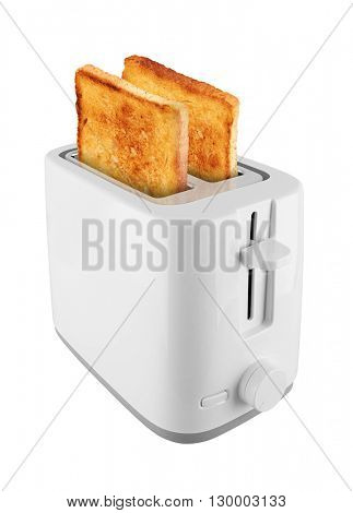 Toaster with toast, isolated on white background