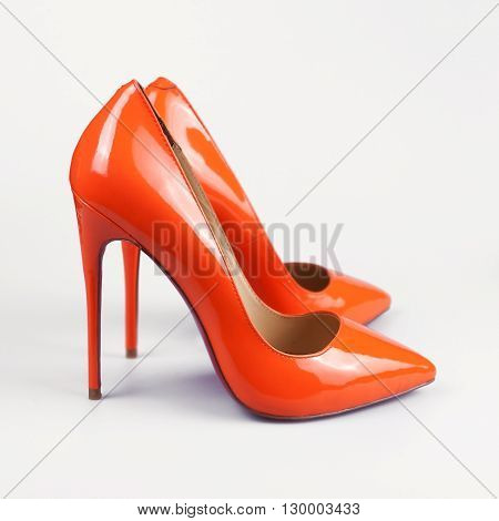 Orange High Heels Pump Shoes