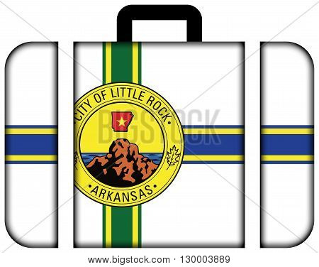 Flag Of Little Rock, Arkansas. Suitcase Icon, Travel And Transportation Concept