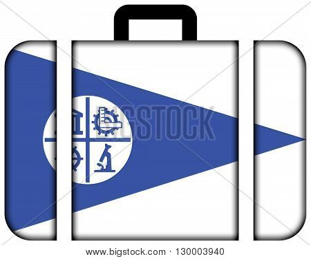 Flag Of Minneapolis, Minnesota. Suitcase Icon, Travel And Transportation Concept