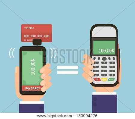 Hands holding smartphone with bank card and pay terminal. Mobile pay credit card. Modern technology. Flat Vector Illustration