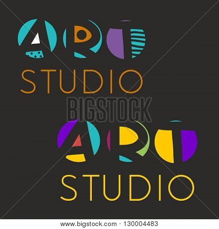 Logo design template for art studio gallery school of the arts. Creative art logo set. Vector illustration.