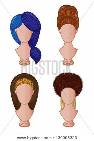 Set of different hairstyles. Vector illustration of female hairdo