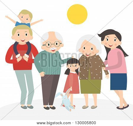Happy family portrait. Father and mother son and daughter grandparents in one picture together. Family isolated on white. 3 generations together. Vector illustration.