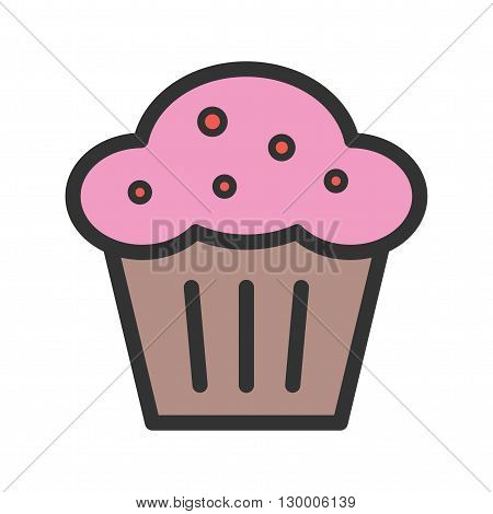 Muffin, pastry, sweet icon vector image. Can also be used for bakery. Suitable for use on web apps, mobile apps and print media