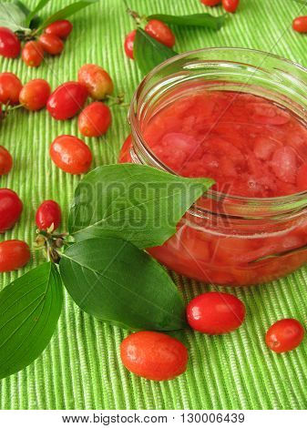 Homemade jam with fruits of cornel in jar