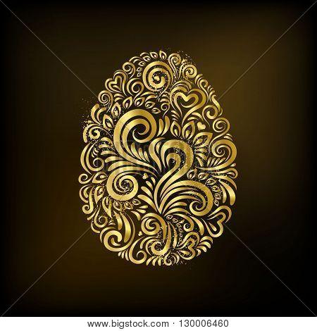 Golden floral ornate in the shape of easter egg on black background. Modern easter card.