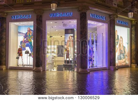 LAS VEGAS - APRIL 13 : Exterior of a Versace store in Caesars Palace hotel in Las Vegas on April 13 2016. Versace is an Italian fashion company and trade name founded by Gianni Versace in 1978.