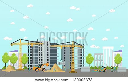 Construction site concept vector banner. Building under construction, workers and construction machines, crane. Under construction.