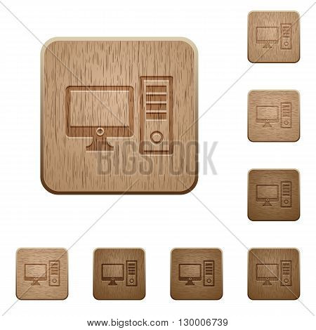 Set of carved wooden Desktop computer buttons in 8 variations.