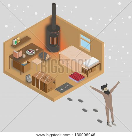 Man walking out from his house at morning. 3d isometric home interior vector illustration. Country house with heater and furniture.