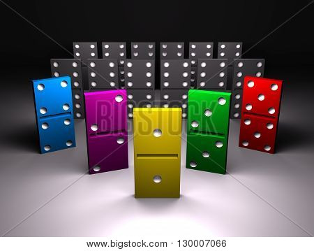 colour and black domino on gray background