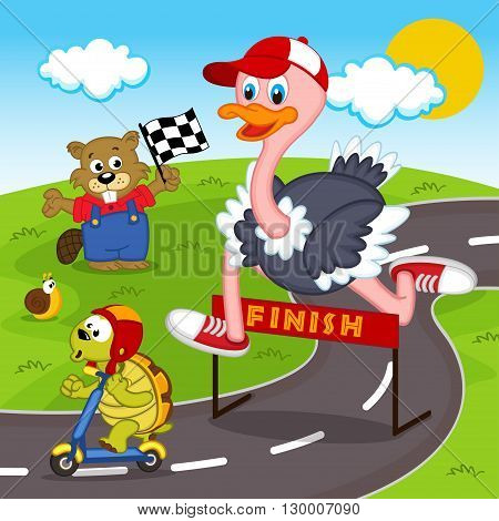 race  between ostrich and turtle  - vector illustration, eps