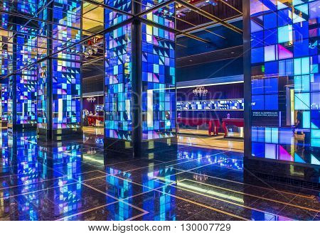 LAS VEGAS - APRIL 13 : The Cosmopolitan hotel lobby in Las Vegas on April 13 2016. The Cosmopolitan opened in 2010 and it has 2995 rooms and 75000 sq ft casino.