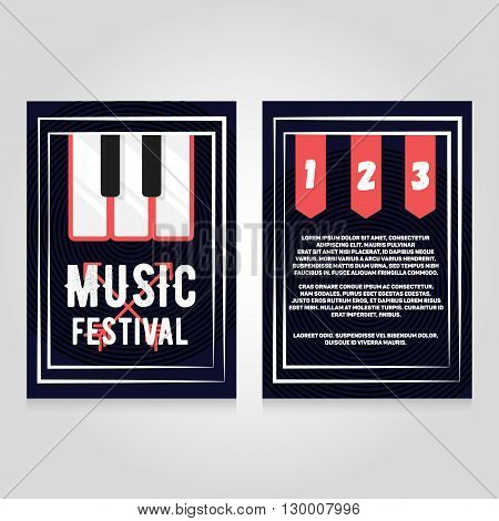 Music festival brochure flier design template. Vector concert poster illustration. Leaflet cover layout in A4 size.