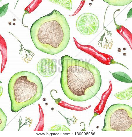 Seamless artistic texture with detailed food illustrations of Mexican cuisine for kitchen wallpaper, print  and textile design