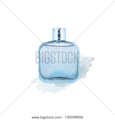 Blue glass perfume bottle isolated on white background