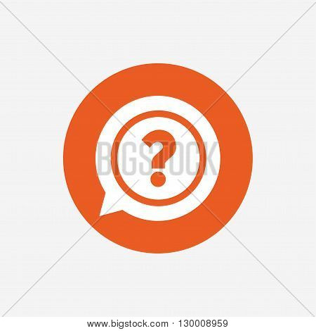Question mark sign icon. Help speech bubble symbol. FAQ sign. Orange circle button with icon. Vector
