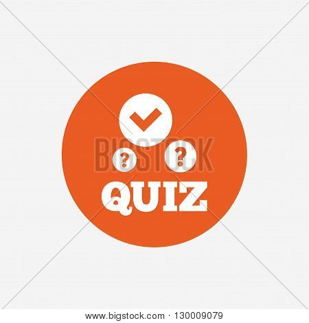 Quiz with check and question marks sign icon. Questions and answers game symbol. Orange circle button with icon. Vector