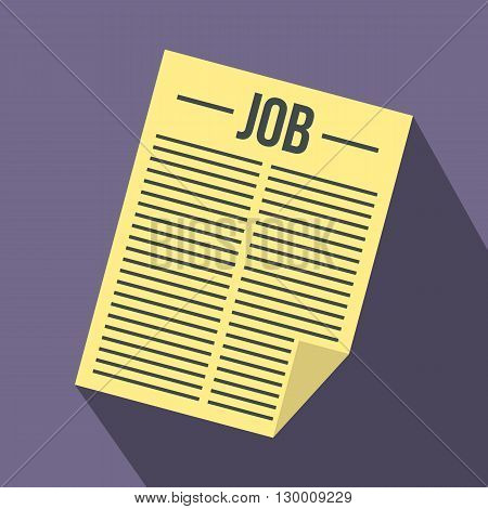 Job vacancy icon in flat style on purple background
