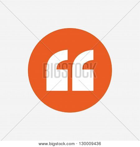 Quote sign icon. Quotation mark symbol. Double quotes at the beginning of words. Orange circle button with icon. Vector