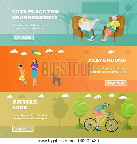 Family concept banner. Seniors sitting in chairs, mother spend time with kid, rider on bicycle in park. Vector illustration in flat style design.