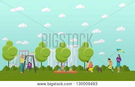 Family in park concept banner. People spending time with kids and friends in park. Vector illustration in flat style design.