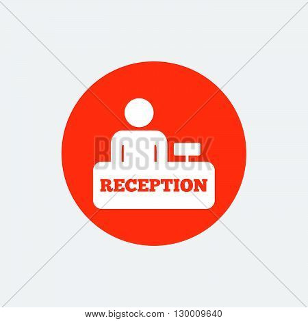 Reception sign icon. Hotel registration table with administrator symbol. Orange circle button with icon. Vector