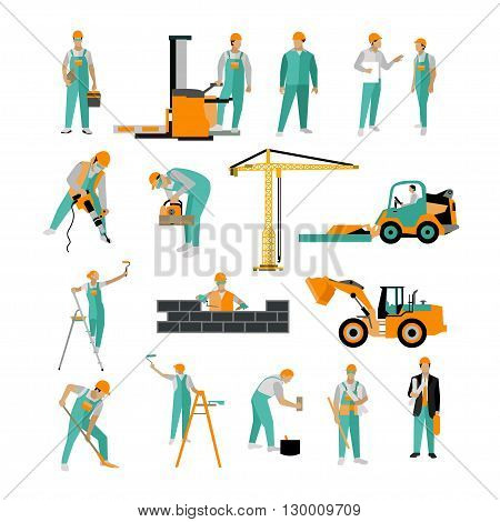 Vector set of construction workers isolated on white. People work on construction site Icons in flat style.