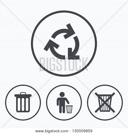 Recycle bin icons. Reuse or reduce symbols. Human throw in trash can. Recycling signs. Icons in circles.