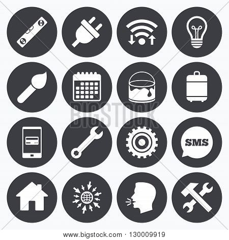 Wifi, calendar and mobile payments. Repair, construction icons. Hammer, wrench tool and cogwheel signs. Electric plug, lamp and house symbols. Sms speech bubble, go to web symbols.