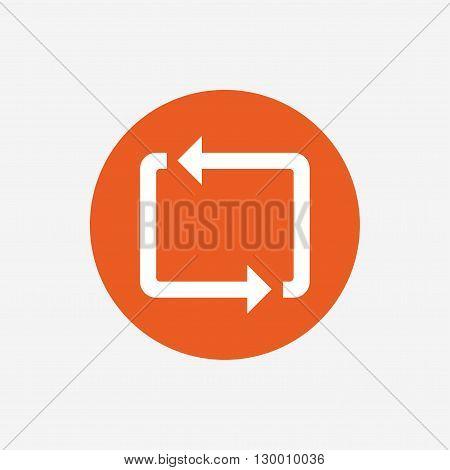 Repeat icon. Loop symbol. Refresh sign. Orange circle button with icon. Vector