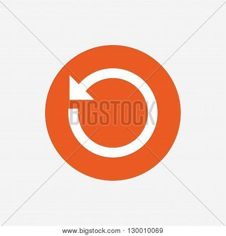 Repeat icon. Refresh symbol. Loop sign. Orange circle button with icon. Vector