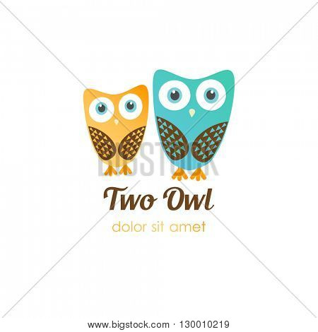 Two owl logos in flat style. Vector logotype for shop, entertainment, education company, school, kindergarden, library and other