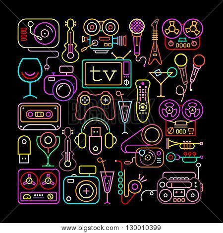 Entertainment icons square shape vector illustration. Neon colors silhouettes on a black background.