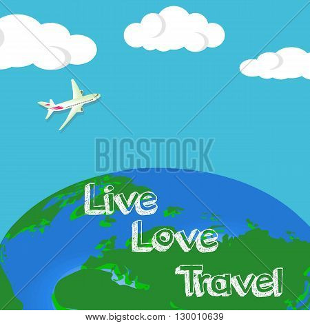 Travel to World. Trip to World. Road trip. Tourism. Landmarks on the globe. Horizontal web travel banners. Travelling illustration. America Asia Europe. Modern flat design.