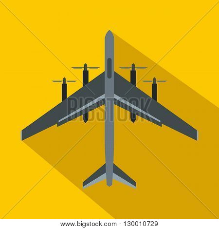 Fighter plane icon in flat style on a yellow background