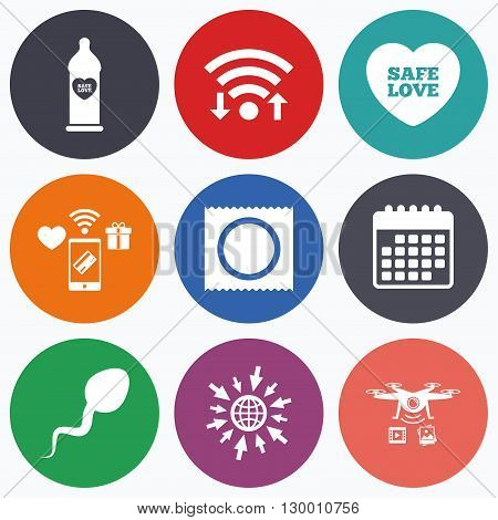 Wifi, mobile payments and drones icons. Safe sex love icons. Condom in package symbol. Sperm sign. Fertilization or insemination. Calendar symbol.