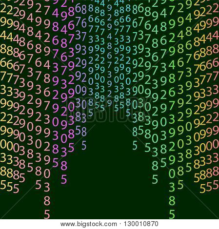 Matrix concept rainbow and black green background with digits on screen. Algorithm binary data code decryption and encoding colorful rainbow row matrix vector illustration