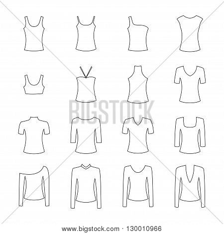 Set of clothes icons on white background, vector illustration
