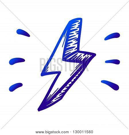 Thunder danger vector hand drawn illustration. Icon on transparent background.