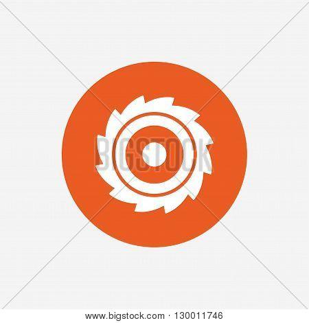 Saw circular wheel sign icon. Cutting blade symbol. Orange circle button with icon. Vector