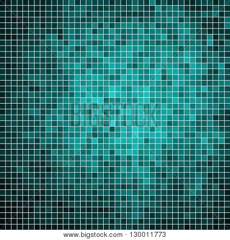 abstract vector square pixel mosaic background - teal