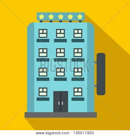 Hotel building icon in flat style on a yellow background
