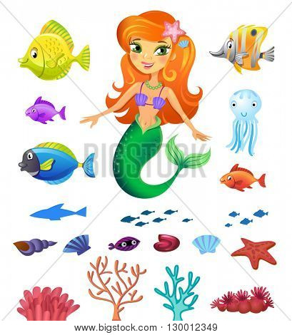 Vectorial illustration of a mermaid, sea inhabitants, shells and corals