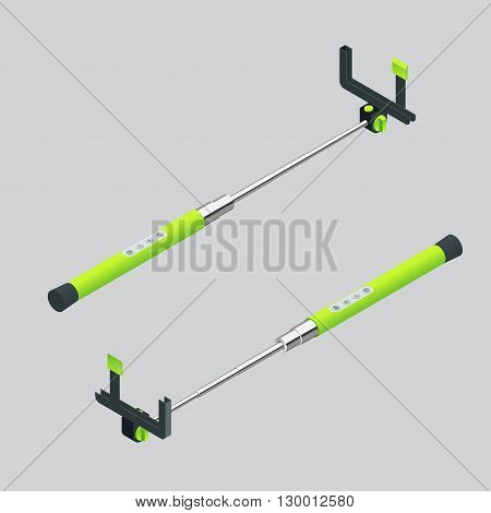 Vector illustration monopods with phones for selfie. Selfie stick.  Flat 3d vector isometric illustration. An extensible selfie stick with an adjustable clamp on the end