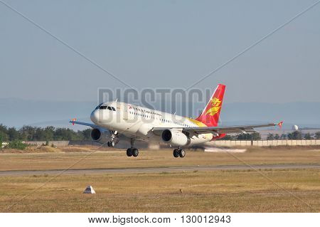 Simferopol Ukraine - September 12 2010: Capital Airlines Airbus A319 is taking off from runway in the the airport