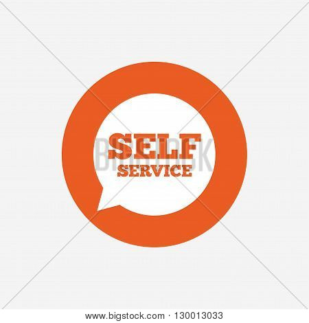 Self service sign icon. Maintenance symbol in speech bubble. Orange circle button with icon. Vector