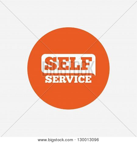 Self service sign icon. Maintenance button. Orange circle button with icon. Vector